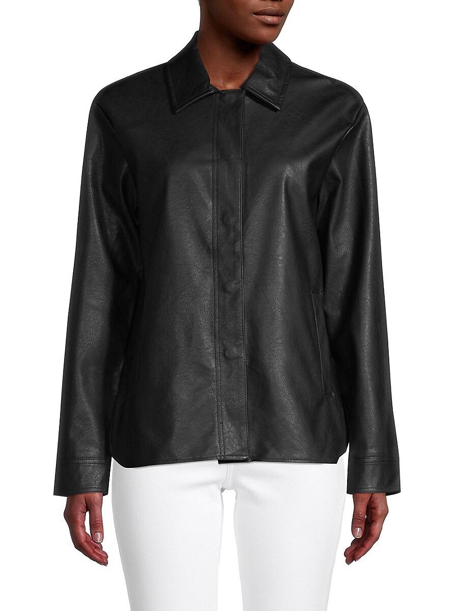 Women's Button-Front Faux Leather Jacket