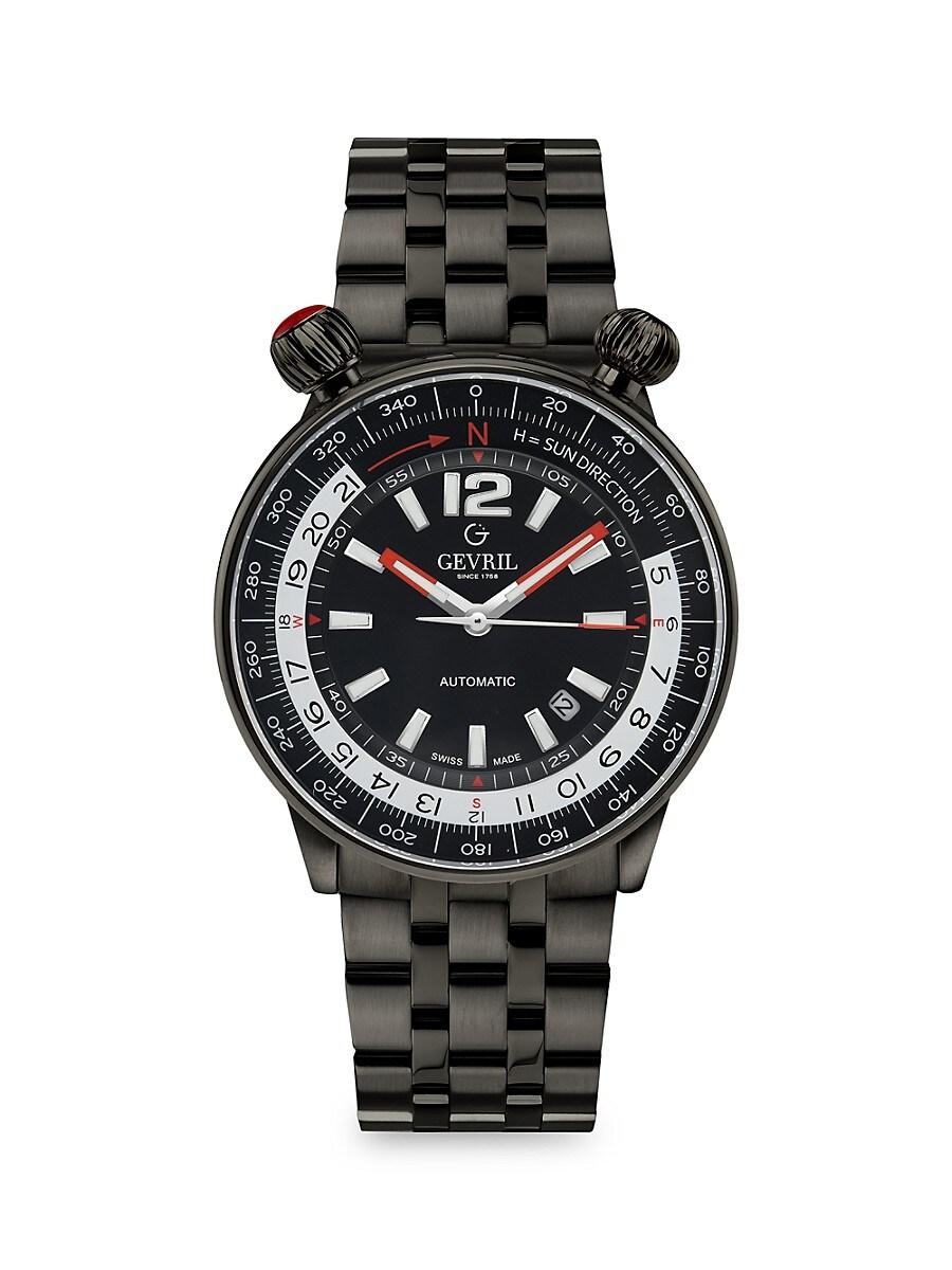Men's Wallabout Solar Compass Black Stainless Steel Swiss Automatic Bracelet Watch