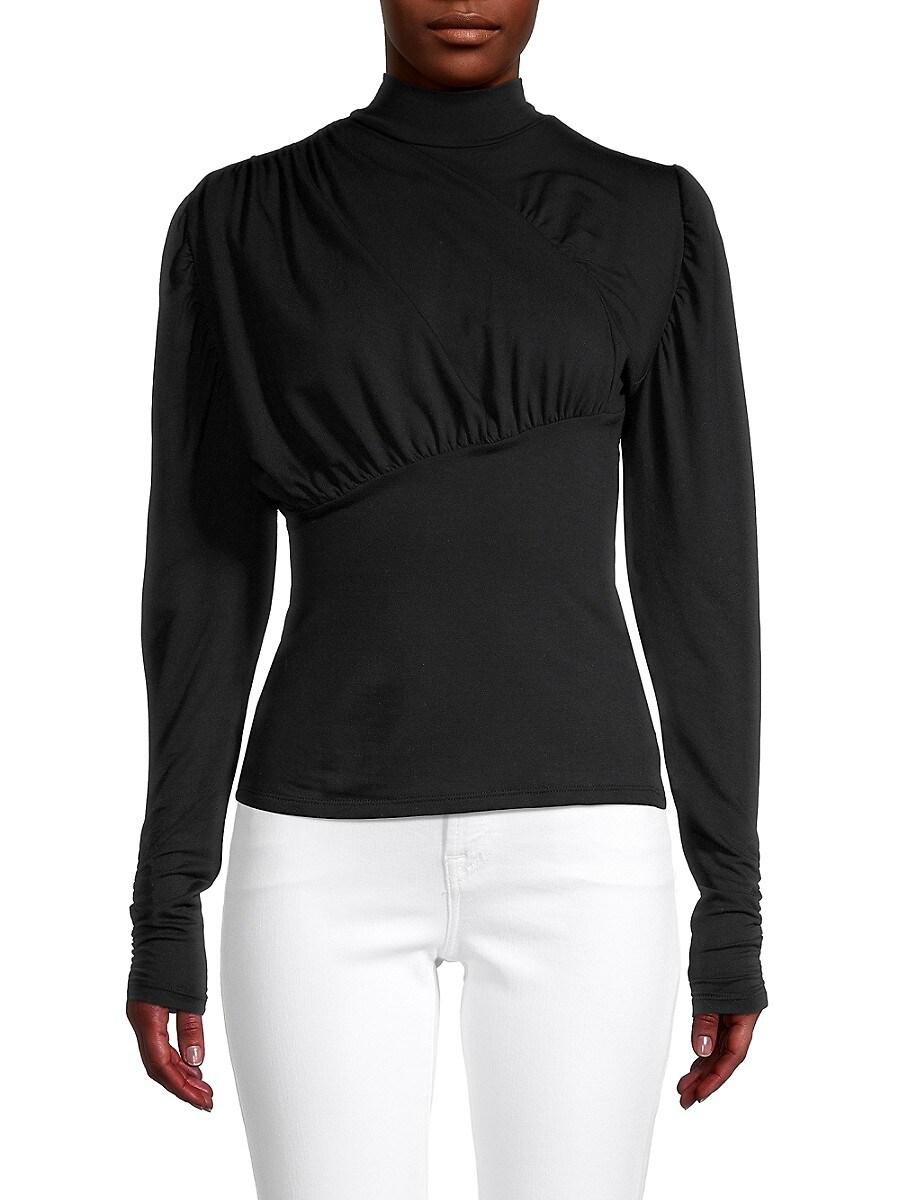 Women's Mockneck Puffed-Sleeve Top