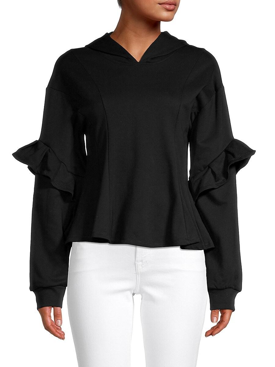 Women's Ruffled Cotton-Blend Hoodie