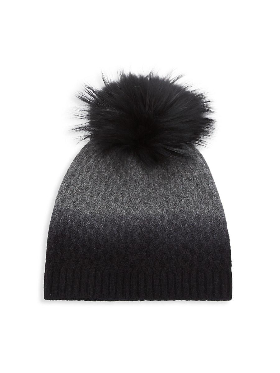Women's Dip-Dyed Cashmere & Fox Fur-Trim Pom-Pom Beanie