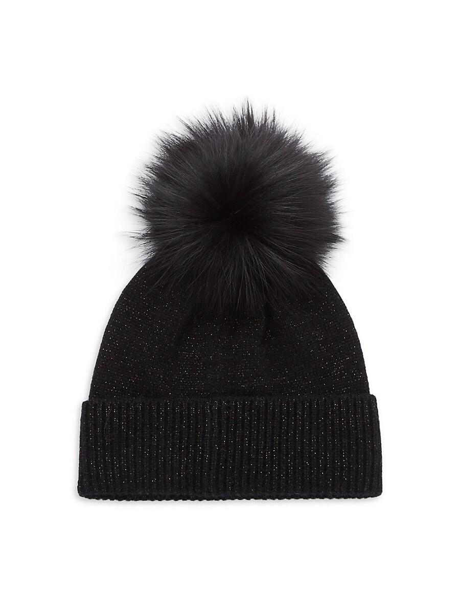 Women's Fox Fur Pom-Pom Beanie