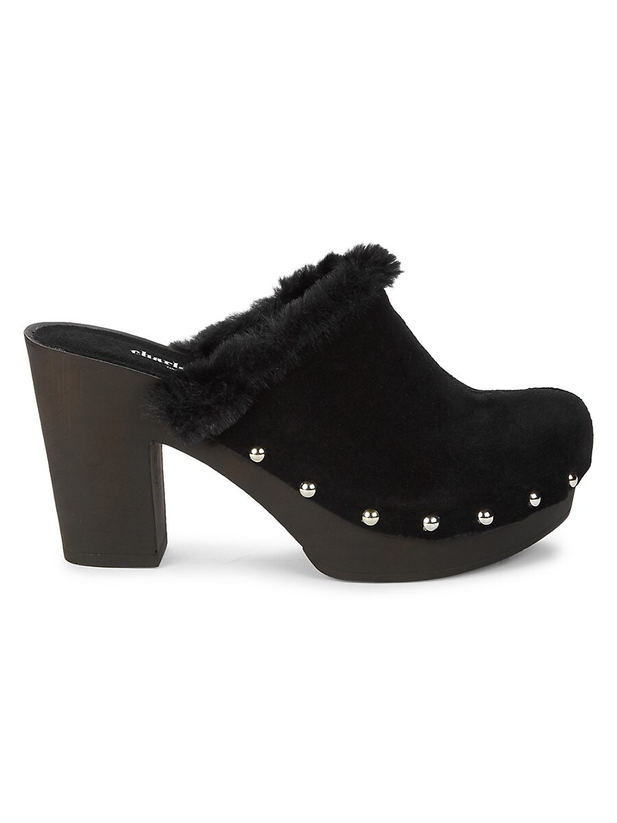 Women's Faux Fur-Lined Suede Heeled Mules