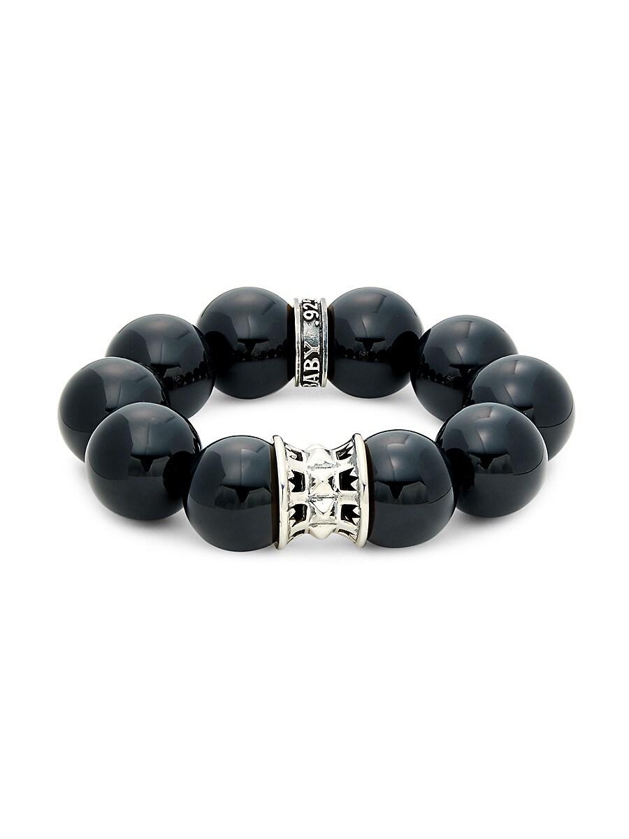 Men's Black Agate & Sterling Silver Beaded Bracelet