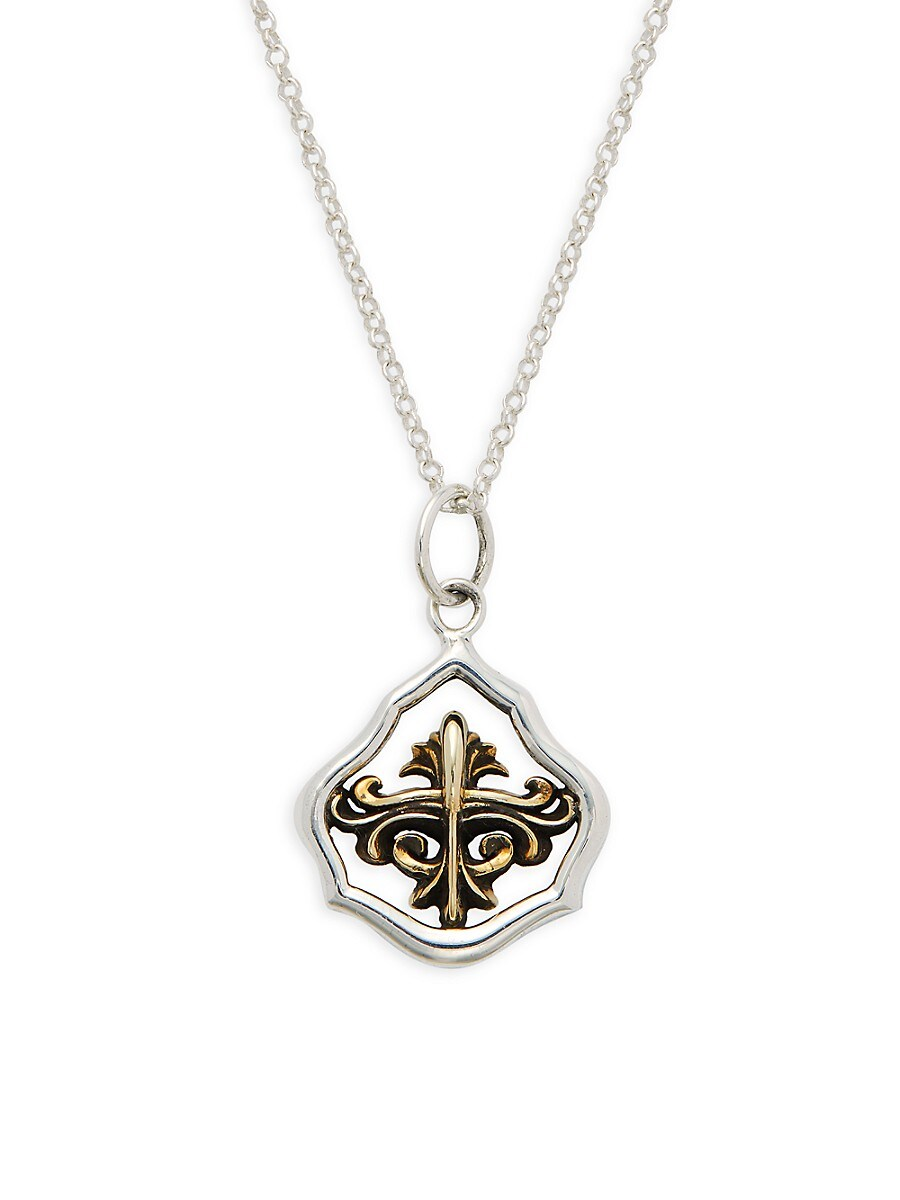 Men's Two-Tone Sterling Silver Pendant Necklace