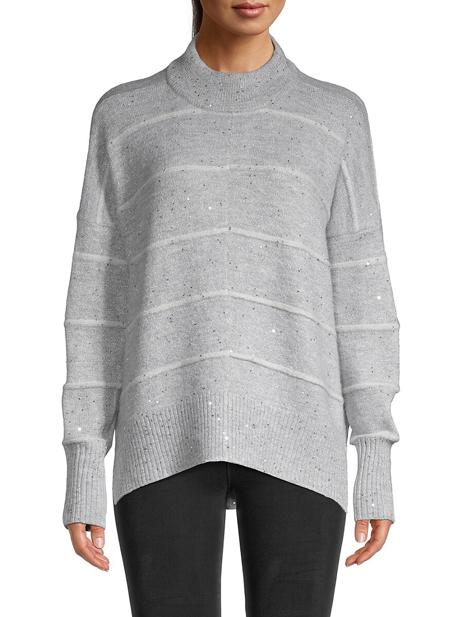 Women's Sequined Mockneck Sweater