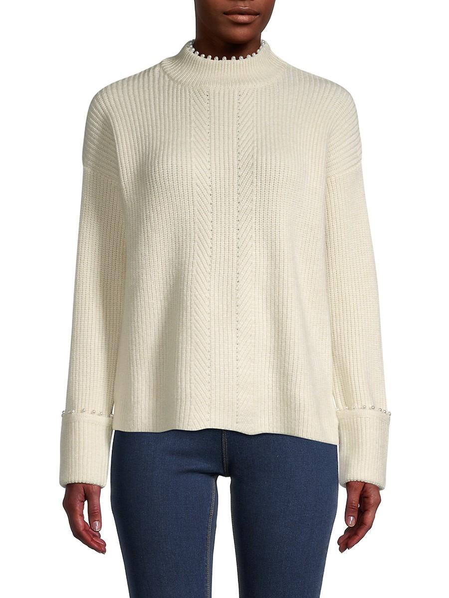 Women's Mockneck Faux Pearl-Trim Knitted Sweater