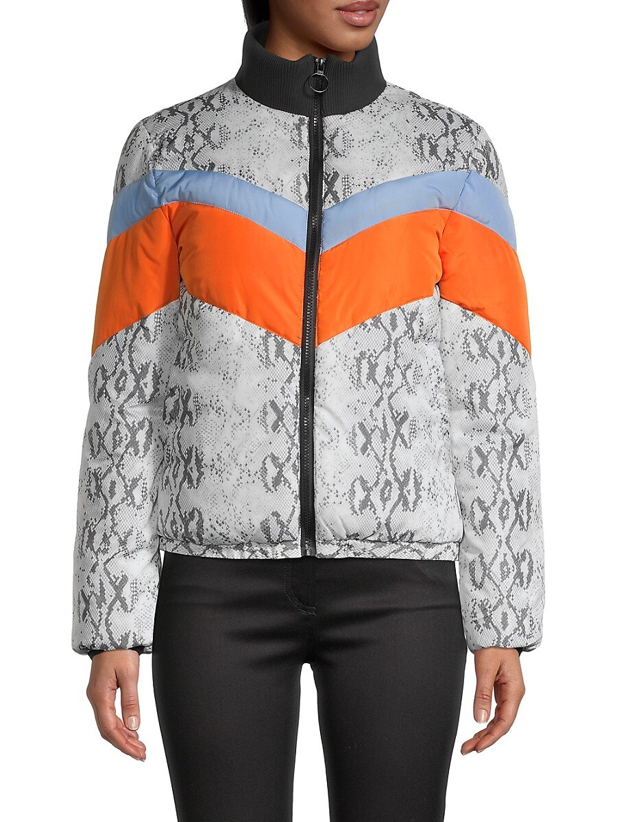 Women's Chevron-Quilted Print Bomber