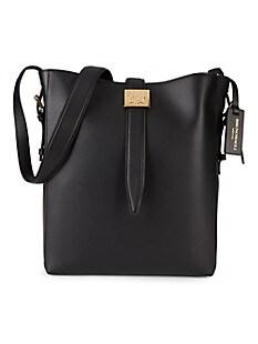 브루노 말리 시계 Bruno Magli Medium Textured Leather Bucket Bag,BLACK
