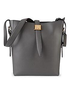 브루노 말리 시계 Bruno Magli Medium Textured Leather Bucket Bag,GREY