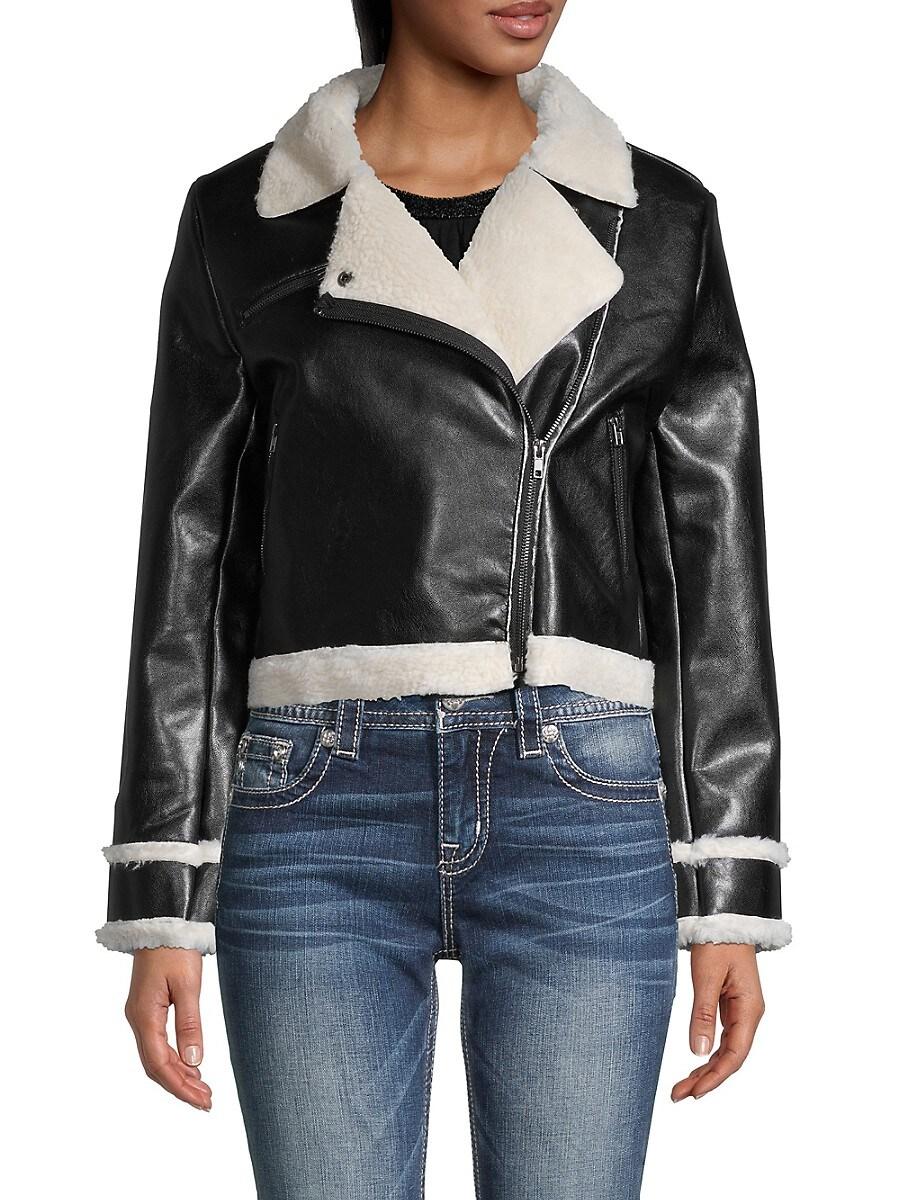 Women's Faux Fur-Trim & Lined Faux Leather Moto Jacket