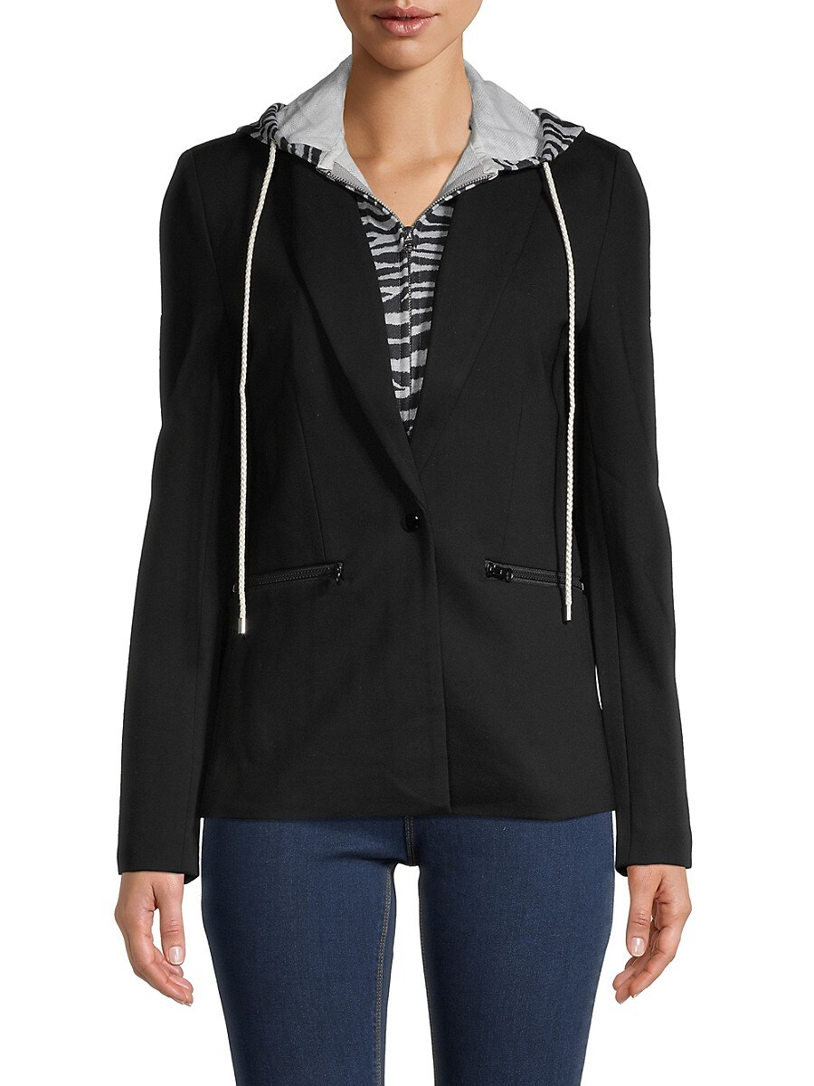 Women's 2-in-1 Zebra-Print Hoodie Jacket