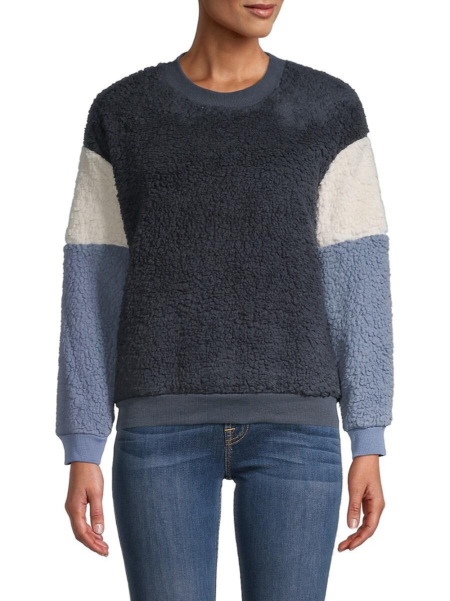 Women's Colorblock Faux Fur Sweater