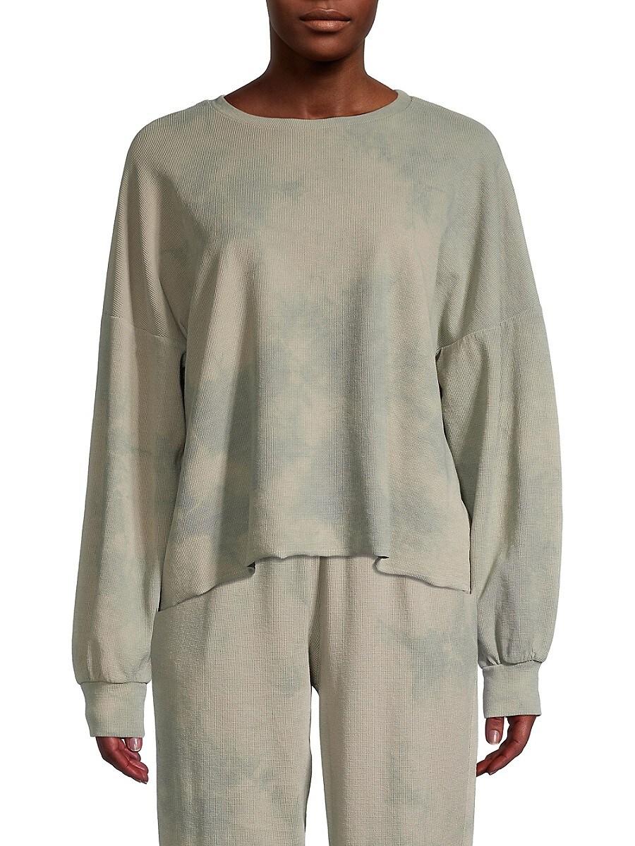 Women's Waffle-Knit Tie-Dye Pullover