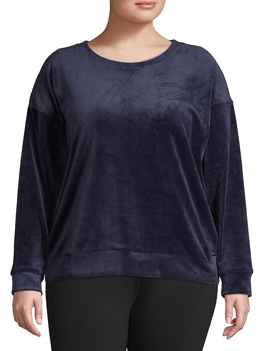Women's Plus Long-Sleeve Velvet Top