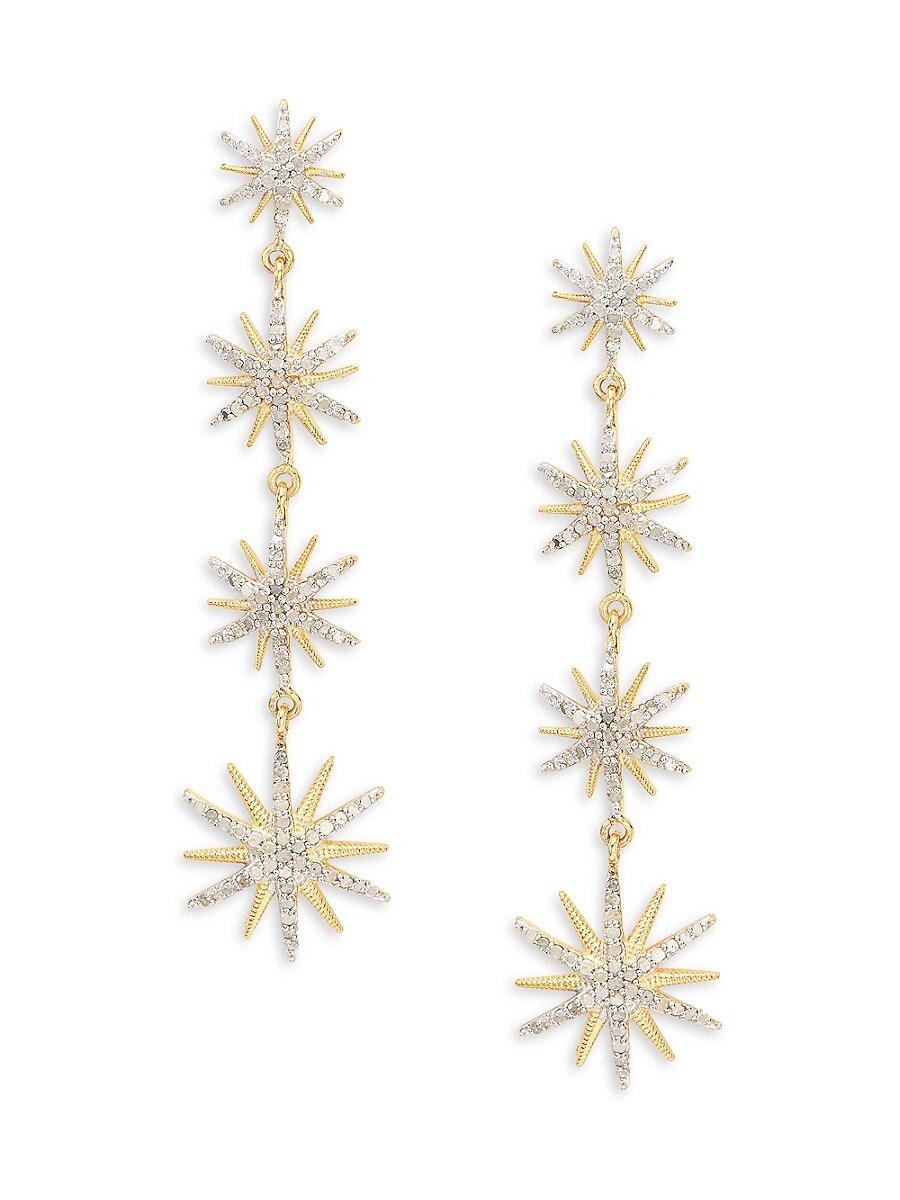 Women's Goldplated Sterling Silver & Diamond Drop Earrings