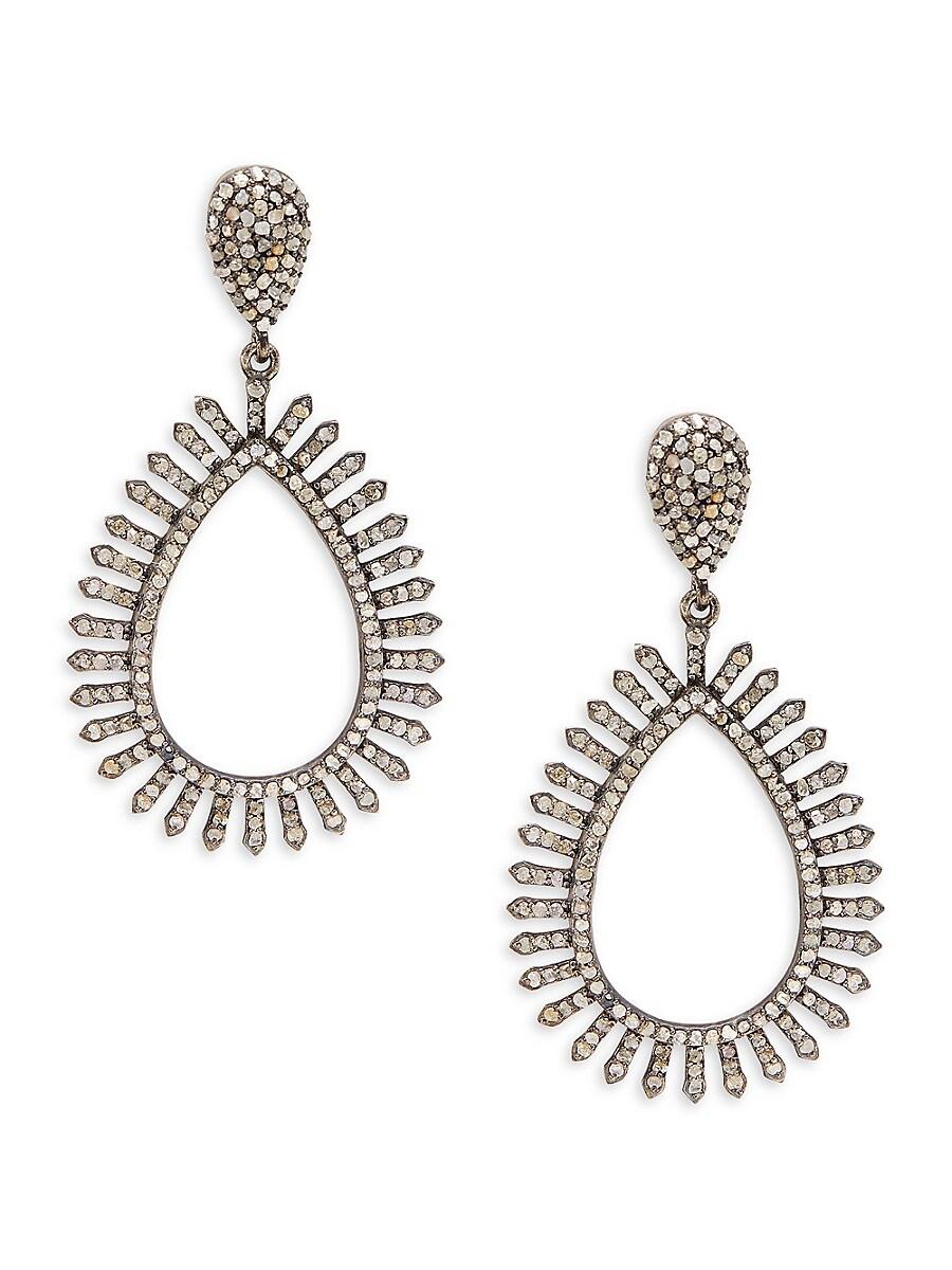 Women's Rhodium-Plated Sterling Silver & Diamond Cutout Drop Earrings