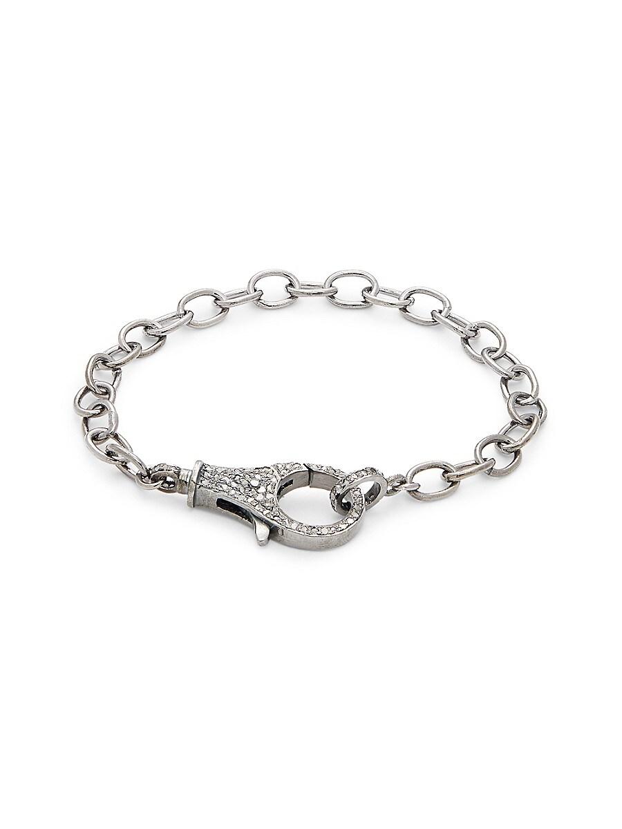 Women's Rhodium-Plated Sterling Silver & Diamond Link Bracelet