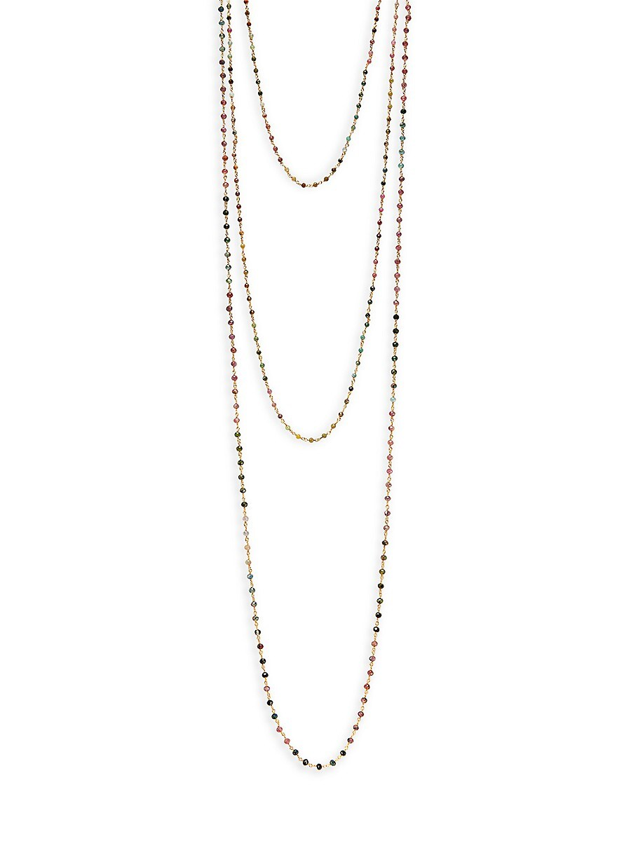 Women's Goldplated Sterling Silver & Multicolored Tourmaline Layered Necklace