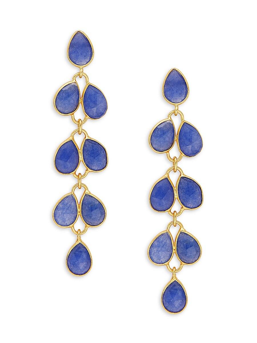 Women's Goldplated Sterling Silver & Rose-Cut Lapis Lazuli Drop Earrings
