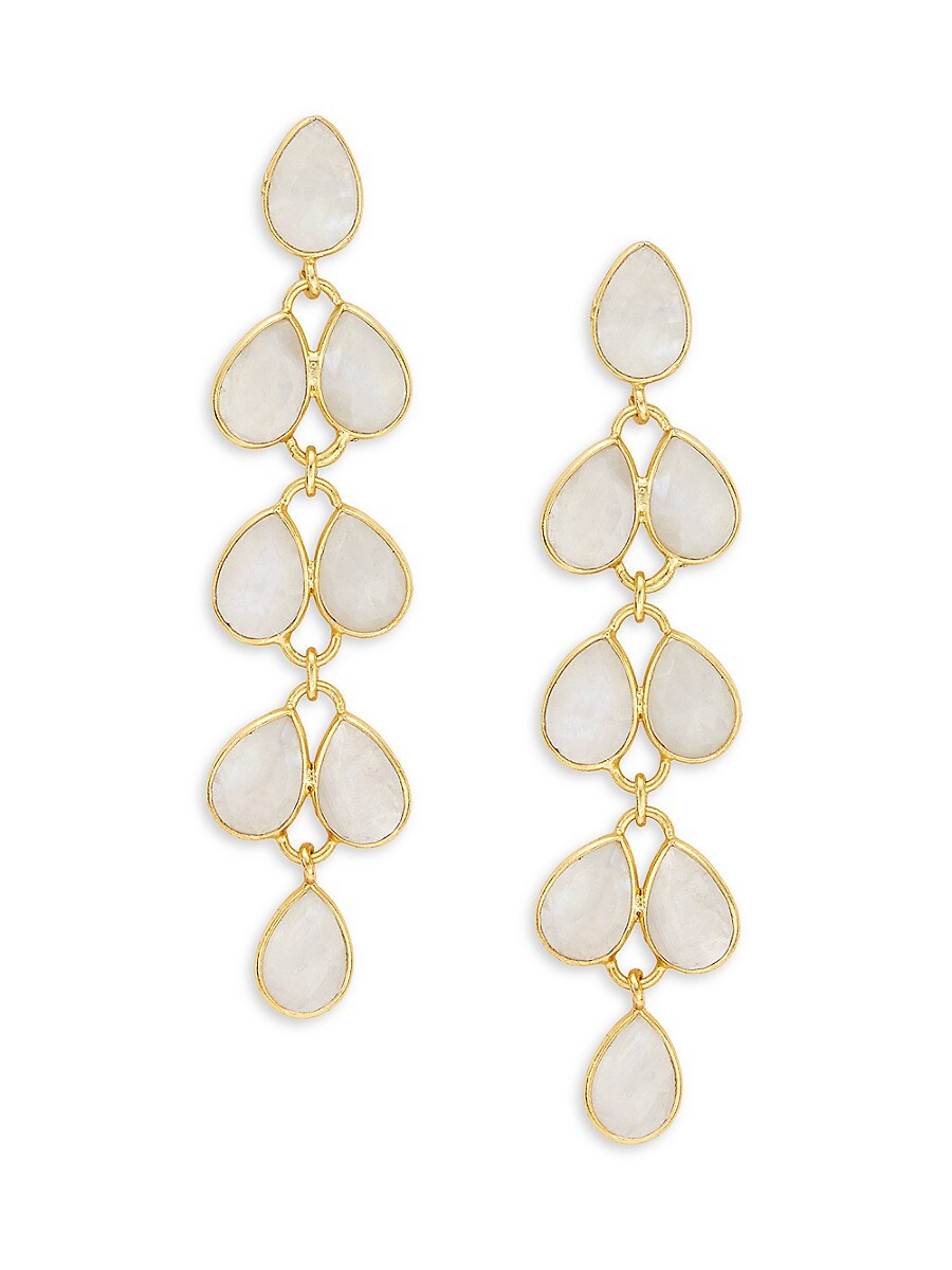 Women's Goldplated Sterling Silver & White Chalcedony Chandelier Earrings
