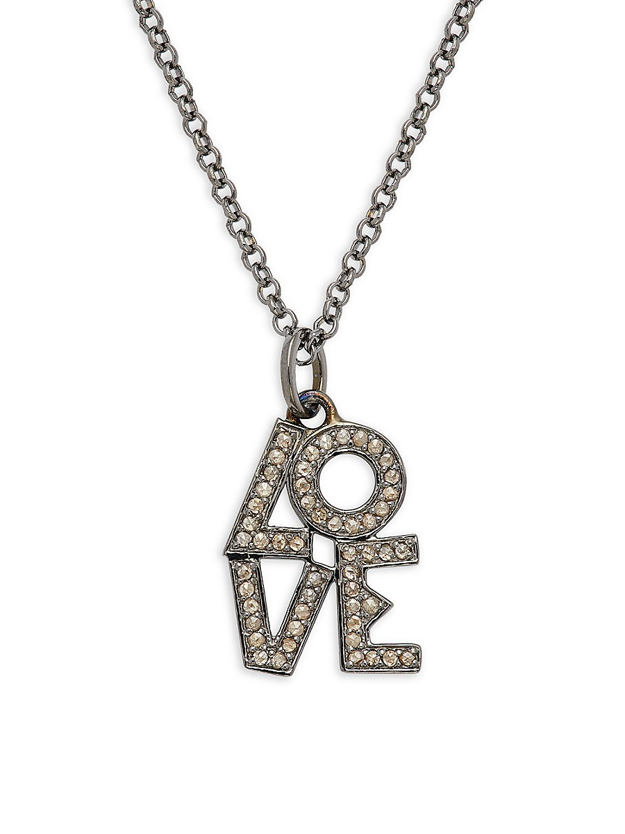 Women's Rhodium-Plated & Diamond Love Pendant Necklace