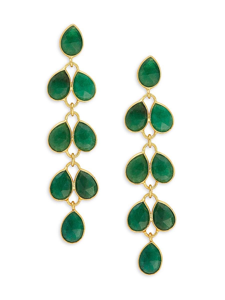 Women's Goldplated Sterling Silver & Green Onyx Drop Earrings
