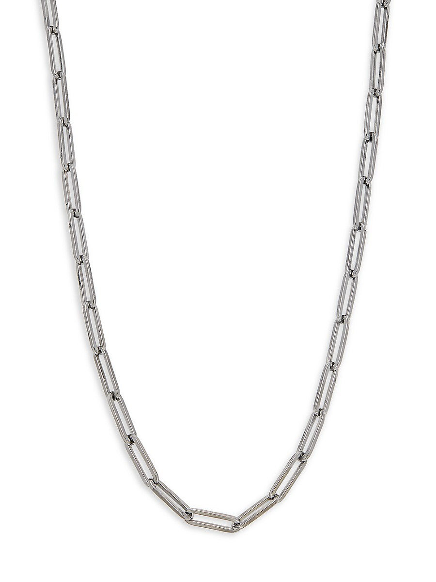 Women's Rhodium-Plated Sterling Silver Paperclip Chain Necklace