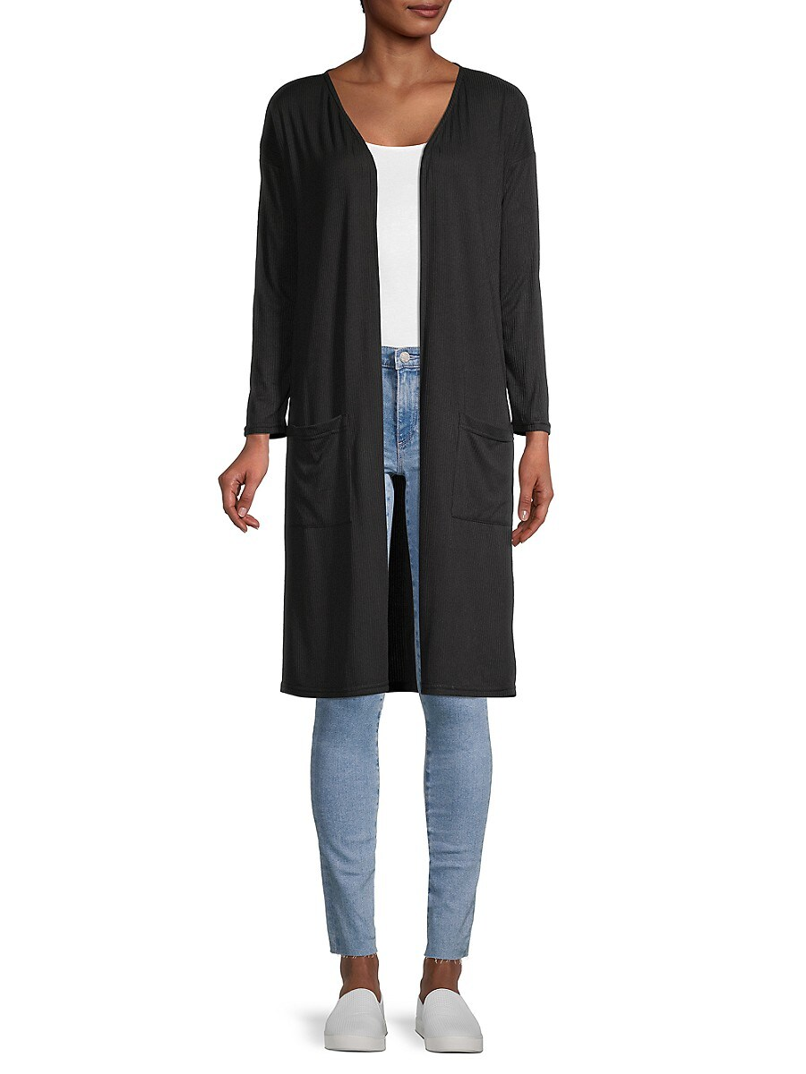 Women's Ribbed Open-Front Cardigan