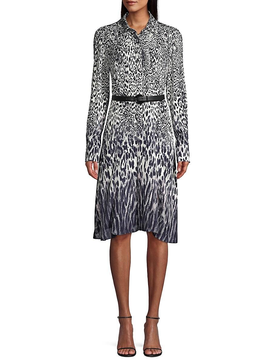Women's Aisha Leopard-Print Belted Shirtdress