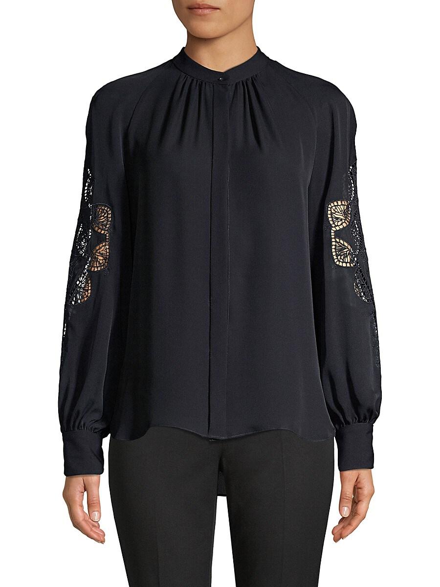 Women's Slate Lace Eyelet Silk Shirt