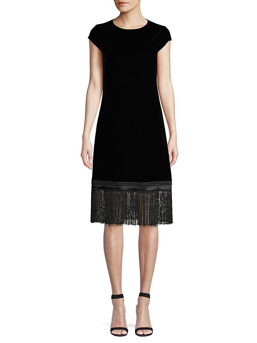 Women's Velvet Fringe Trim Shift Dress