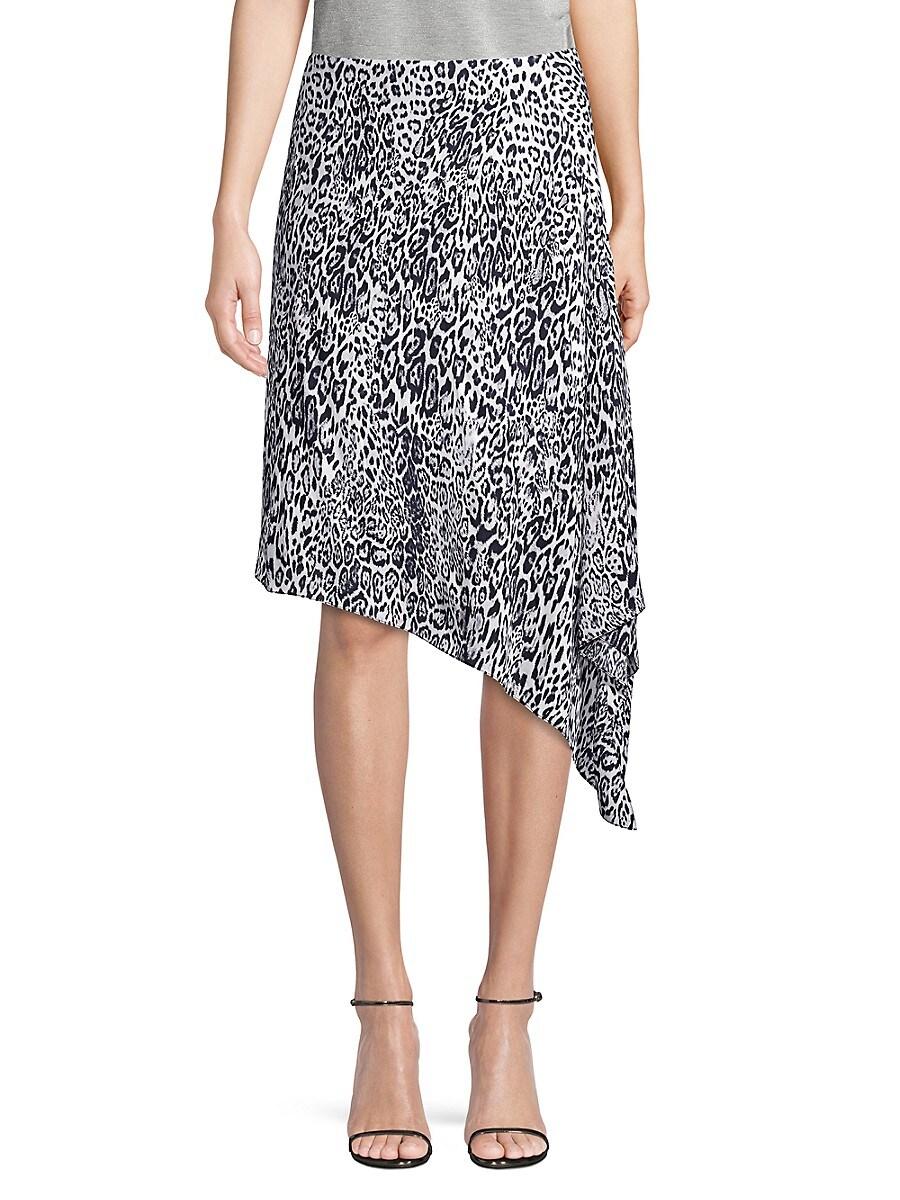 Women's Alexa Leopard-Print Asymmetric Midi Skirt