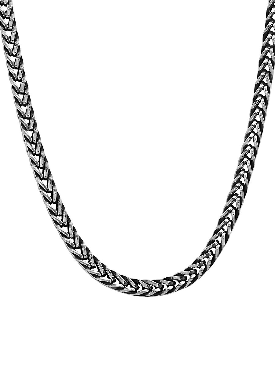 """Men's Oxidized Stainless Steel Wheat Chain Necklace/24"""""""