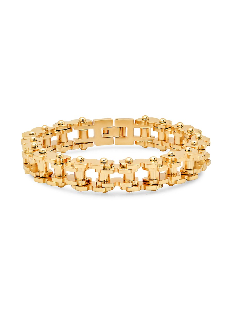 Men's 18K Goldplated Stainless Steel Bicycle Chain Link Bracelet