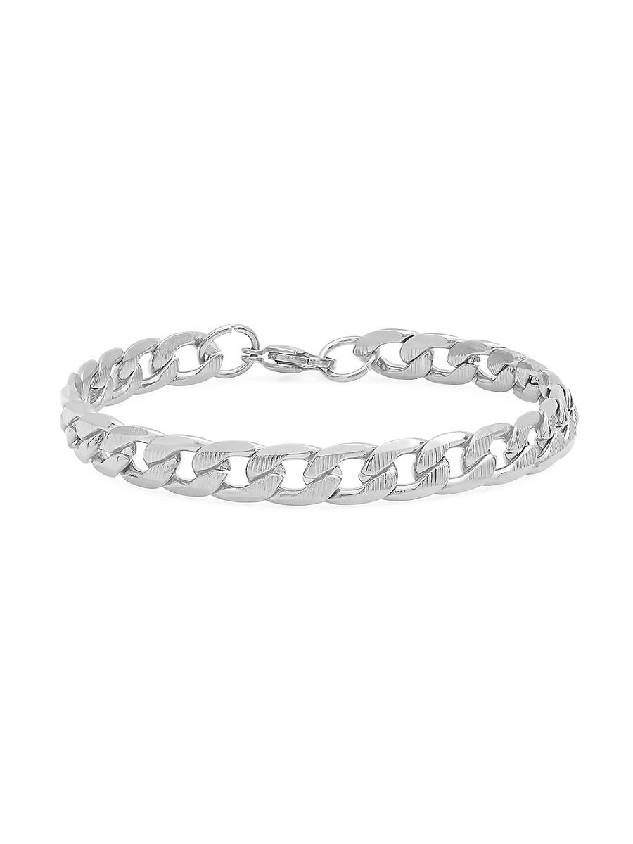 Men's Stainless Steel Cuban-Link Chain Bracelet
