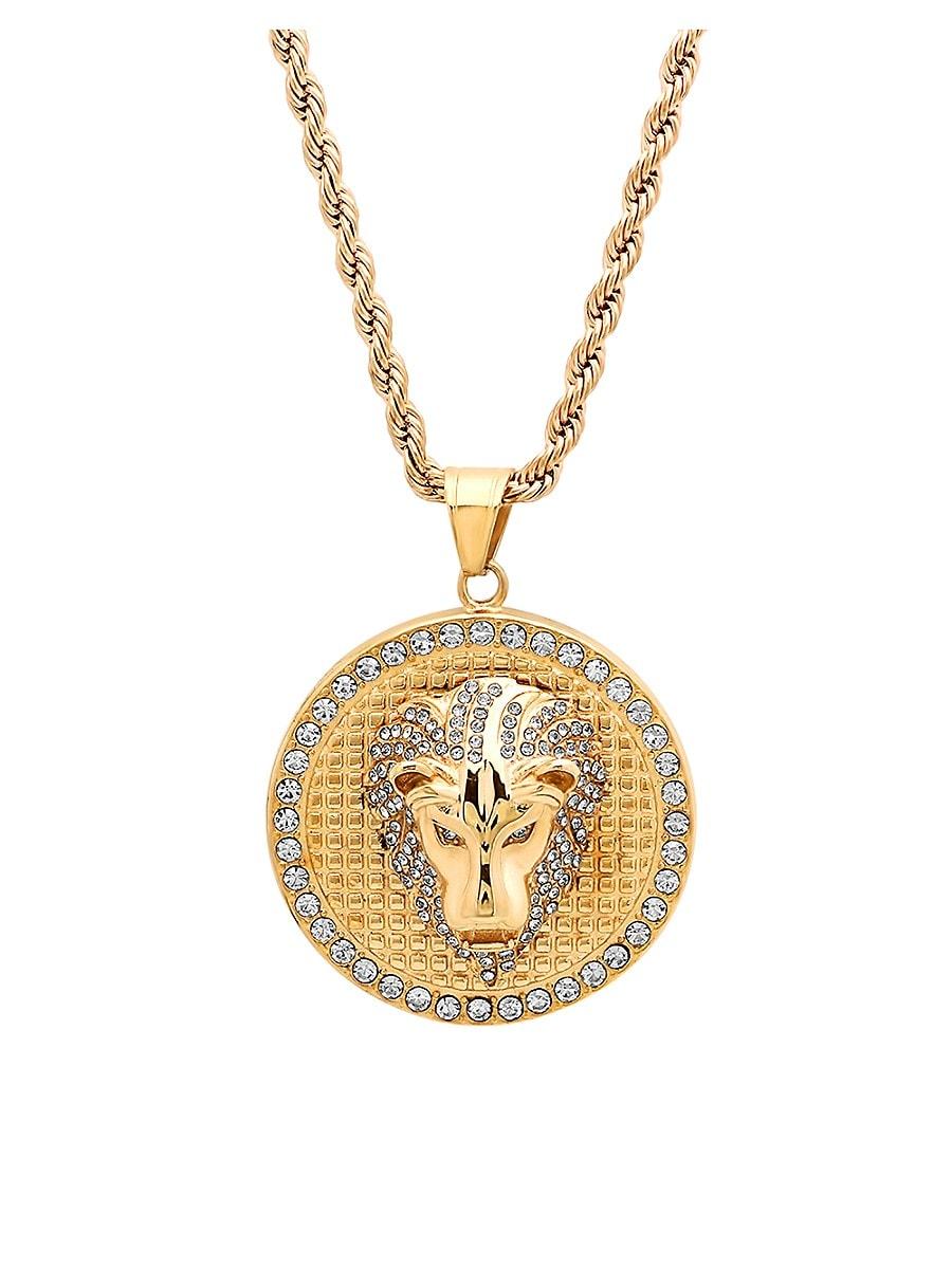 Men's 18K Goldplated Stainless Steel & Diamond Lion Head Pendant Necklace
