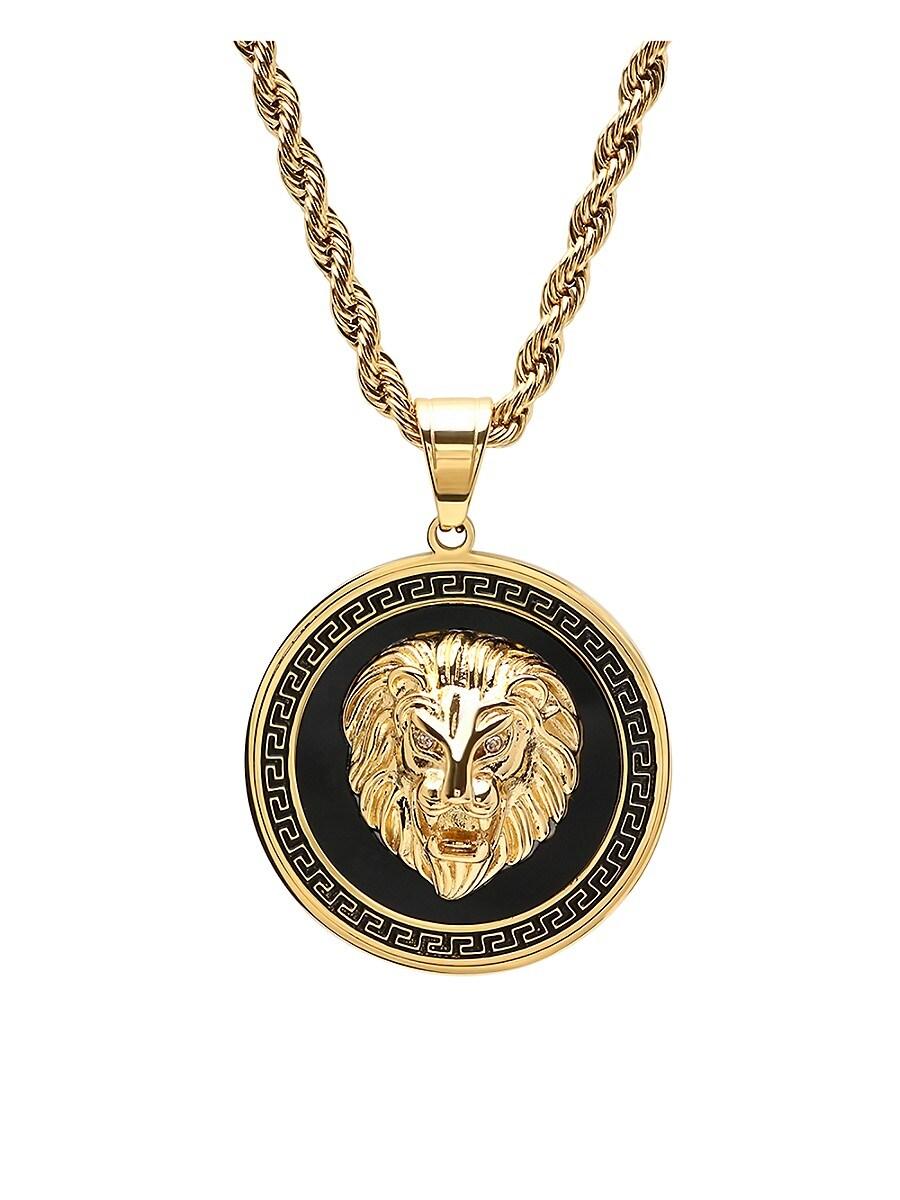 Men's 18K Goldplated & Simulated Diamond Lion Greek Key Mount Pendant Necklace