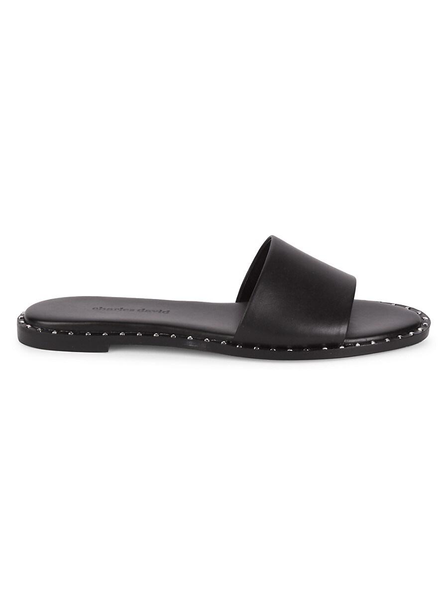 Women's Studded Leather Slides