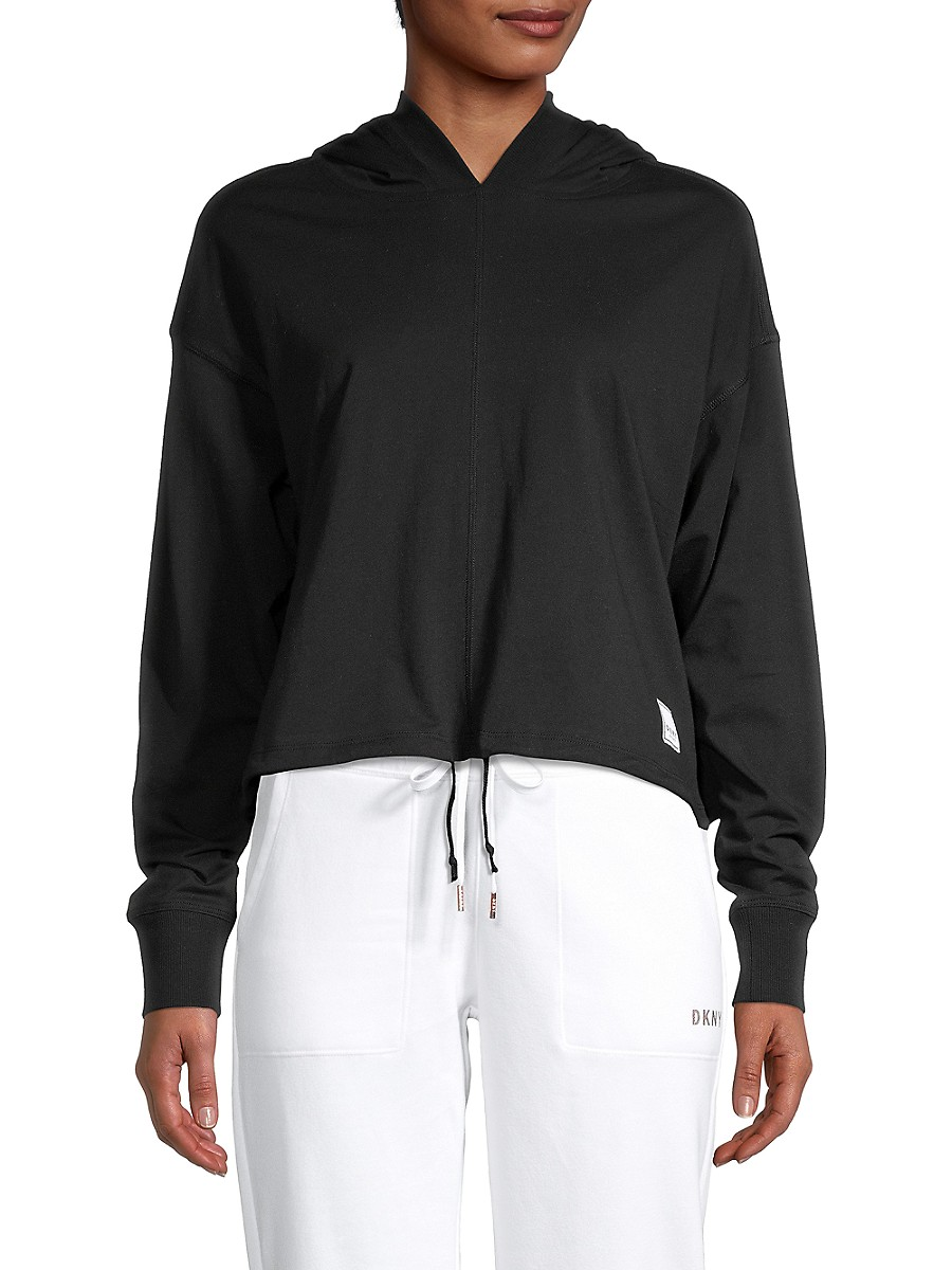 Women's Logo-Patch Cropped Cotton Hoodie