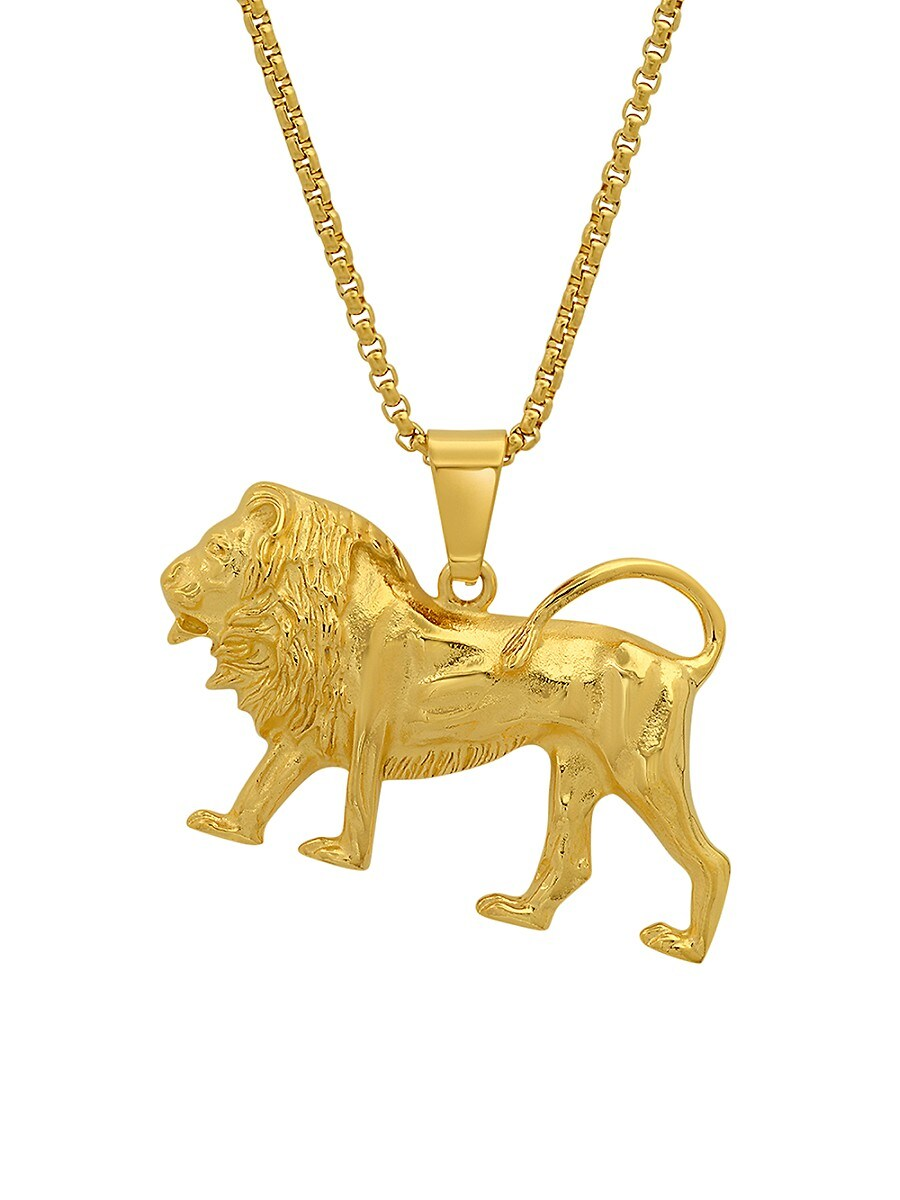 Men's 18K Goldplated Stainless Steel Lion Pendant Necklace