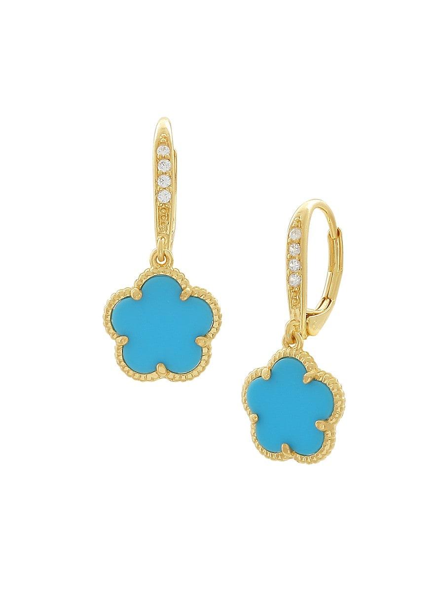 Women's Clover 14K Goldplated & Cubic Zirconia Drop Earrings