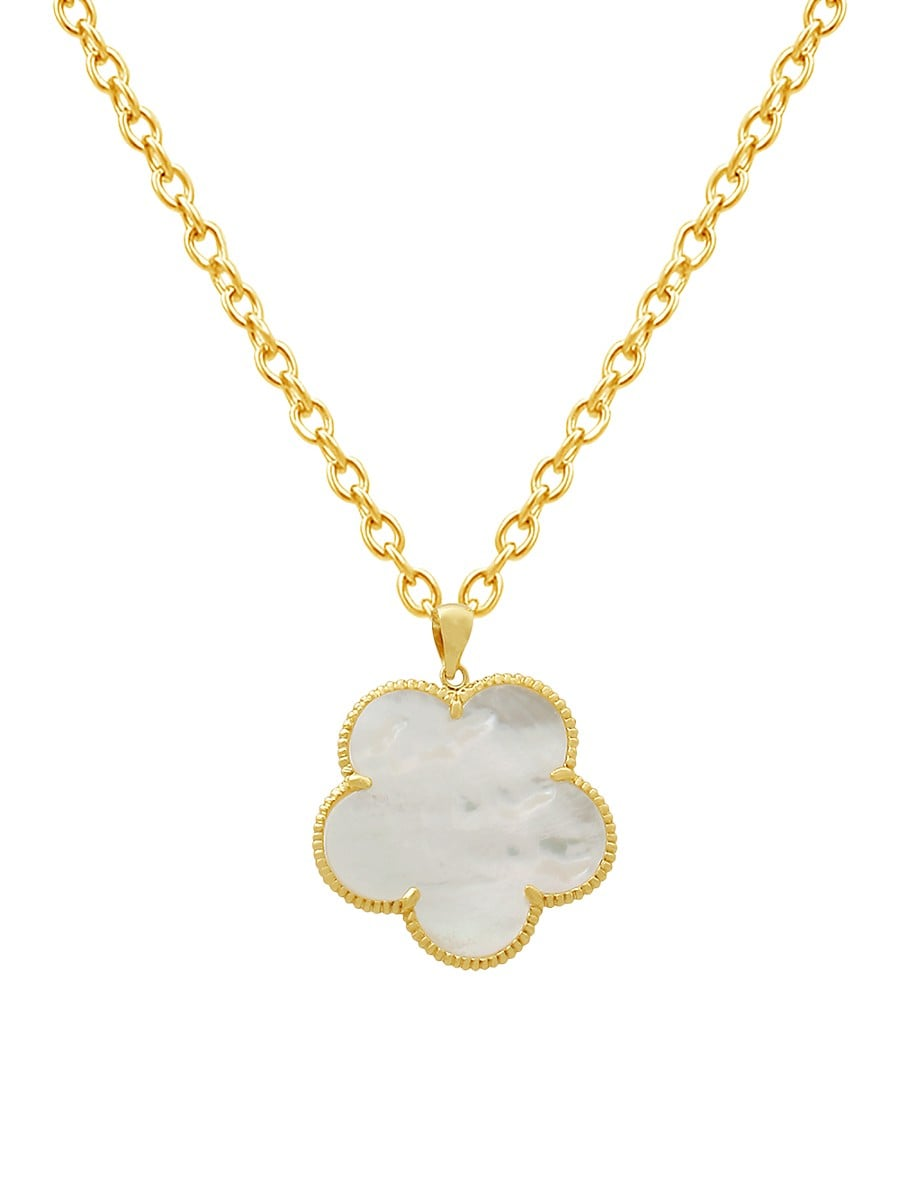 Women's Clover Mother-Of-Pearl 14K Goldplated Pendant Necklace