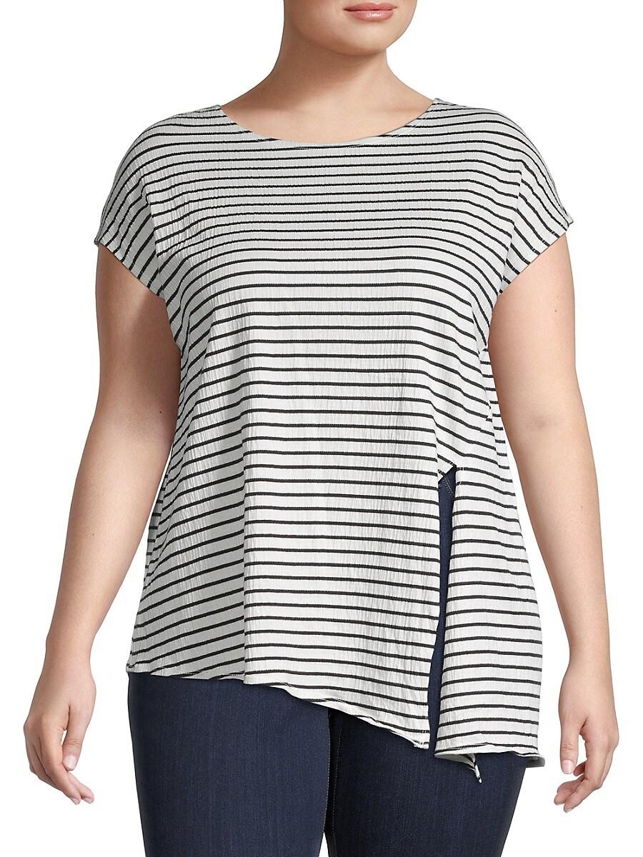 Women's Plus Striped Cotton-Blend Top