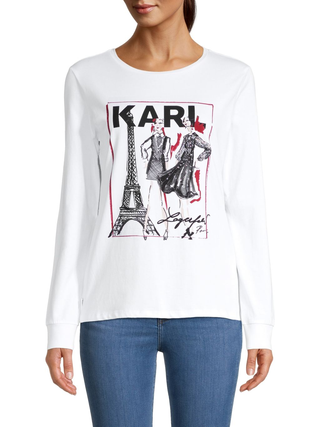 Karl Lagerfeld Paris Graphic Stretch-Cotton Tee