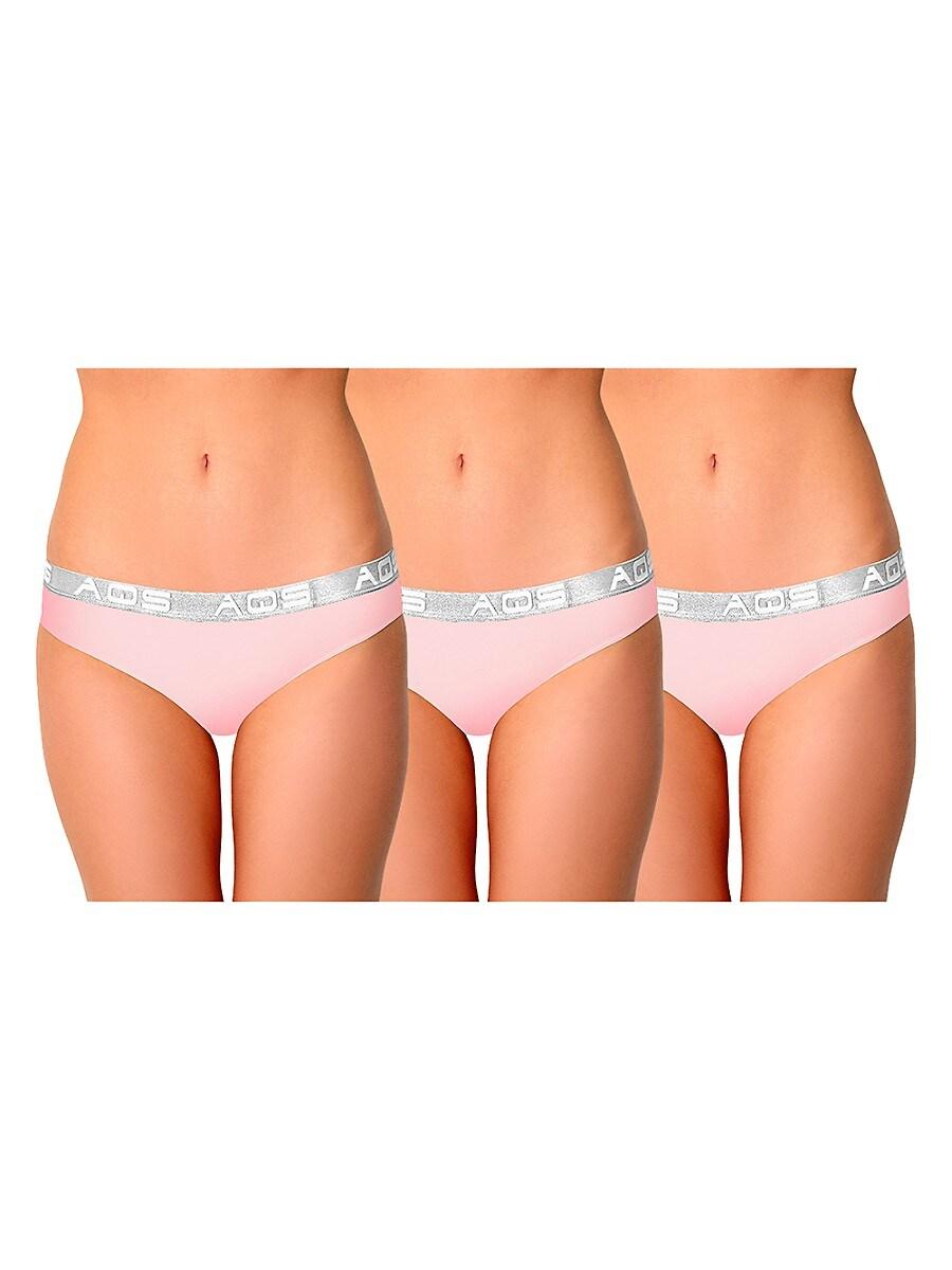 Women's 3-Pack Logo Cotton-Blend Bikini Panties