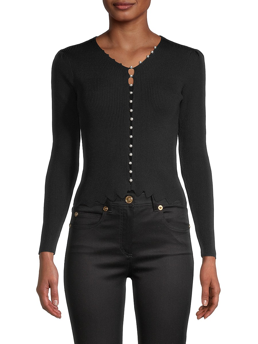 Women's Faux-Pearl Buttoned Top