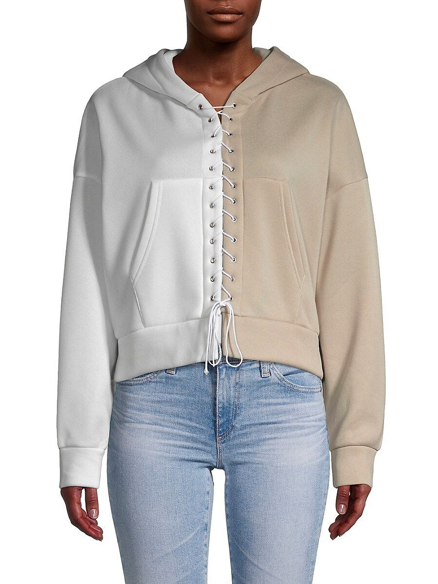 Women's Lace-Up Colorblock Hoodie