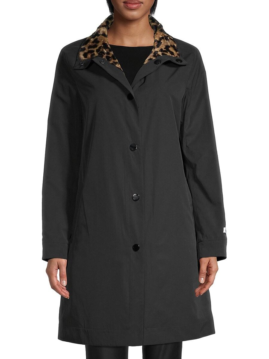 Women's Reversible Leopard-Print Faux Fur Town Coat