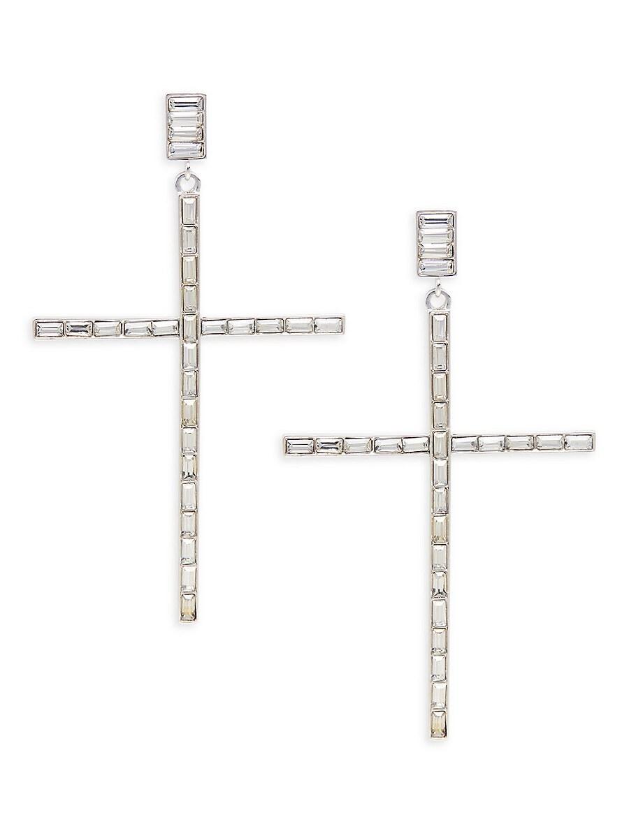 Women's Silvertone & Glass Crystal Cross Drop Earrings